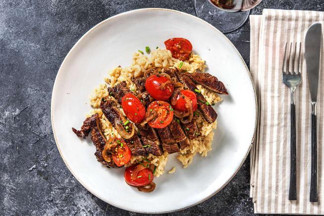 20 oz Rib-Eye Steaks Over Risotto