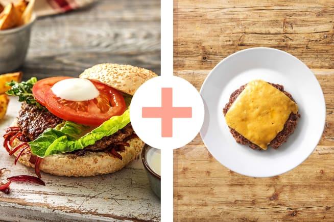Rindfleisch-Burger mit Zwiebelade