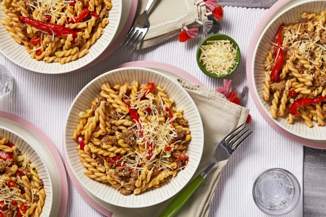 Family Friendly - Sausage and Roasted Red Pepper Gemelli