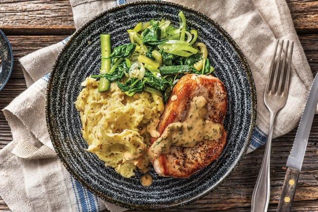 Seared Pork & Tarragon Sauce