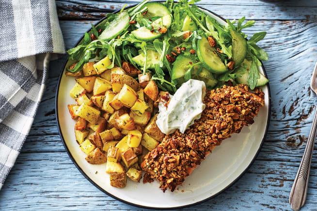 Quick Meals - Seared Salmon & Garlic-Almond Crumb