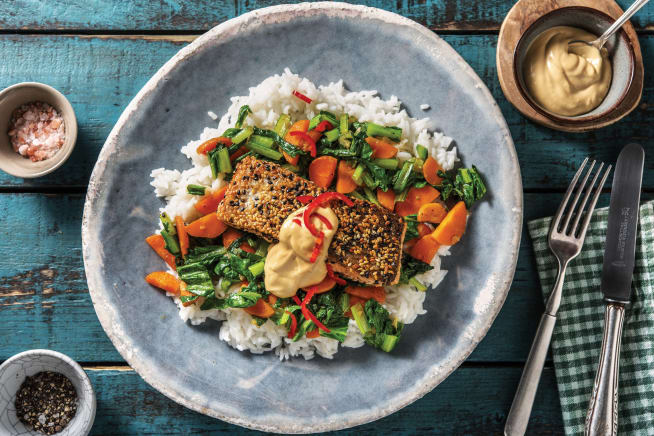 Quick Meals - Sesame-Crusted Salmon & Ginger Veggies