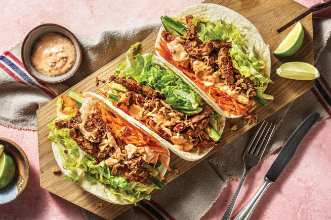 Quick Meals - Sichuan Garlic Beef Tacos