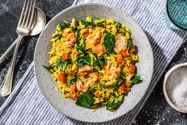 Low Calorie Meals - Spiced Smoked Salmon Pilaf