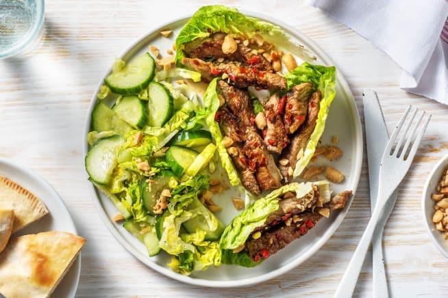 Caloriearme recepten - Thaise maaltijdsalade met biefstukpuntjes