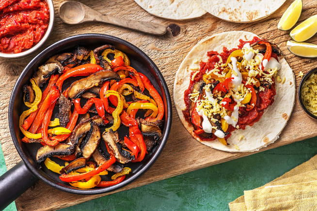 Vegetarische Fajitas mit Paprika & Pilzen