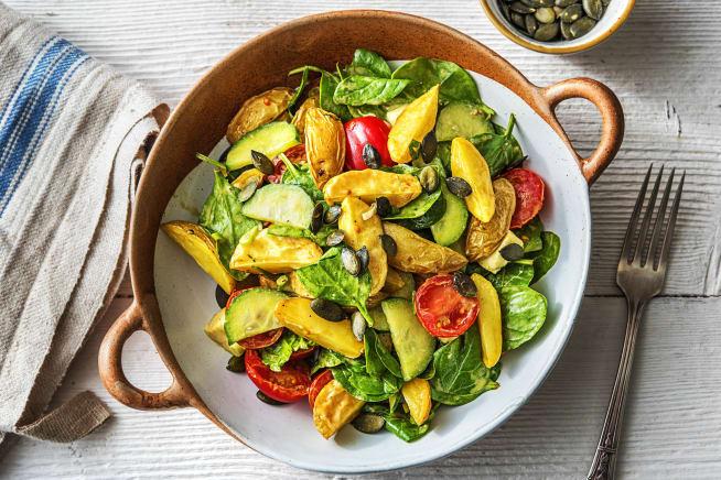 Gesunde Gerichte - Warmer Kartoffelsalat mit Babyspinat