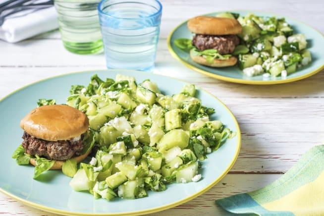 Snelle recepten - Zomerse meloensalade met broodje hamburger