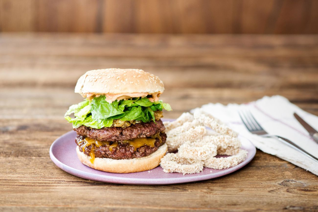 California-Style Griddled Cheeseburgers with Secret Sauce and Crispy Baked Onion Rings