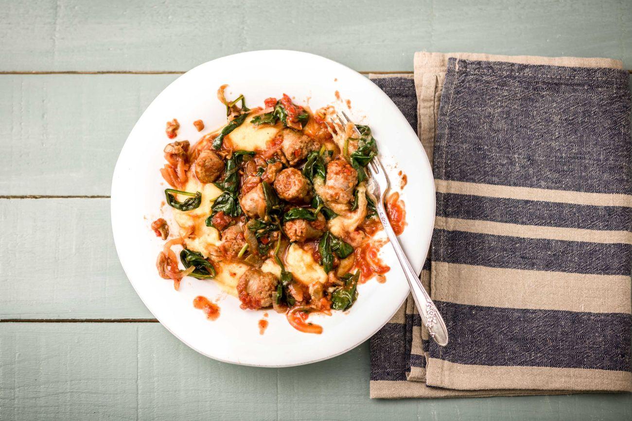 Italian Sausage Stew with Cheesy Polenta