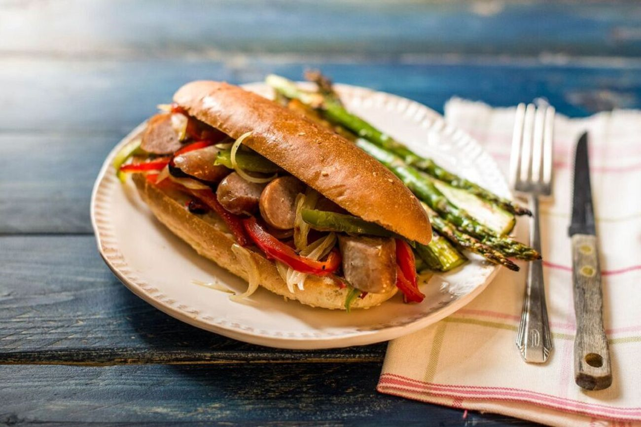 One-Sheet Sausage and Pepper Hoagies
