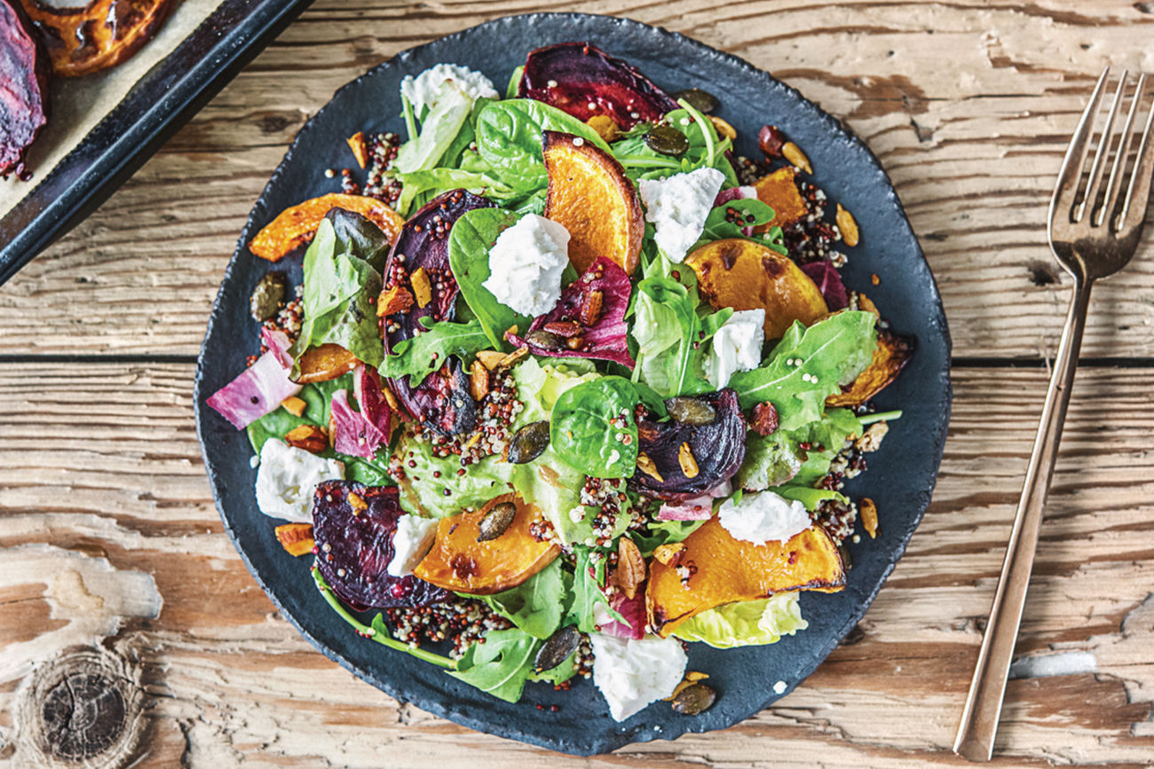 (Vegetarian) Roast Pumpkin, Beetroot & Spiced Nut Bowl