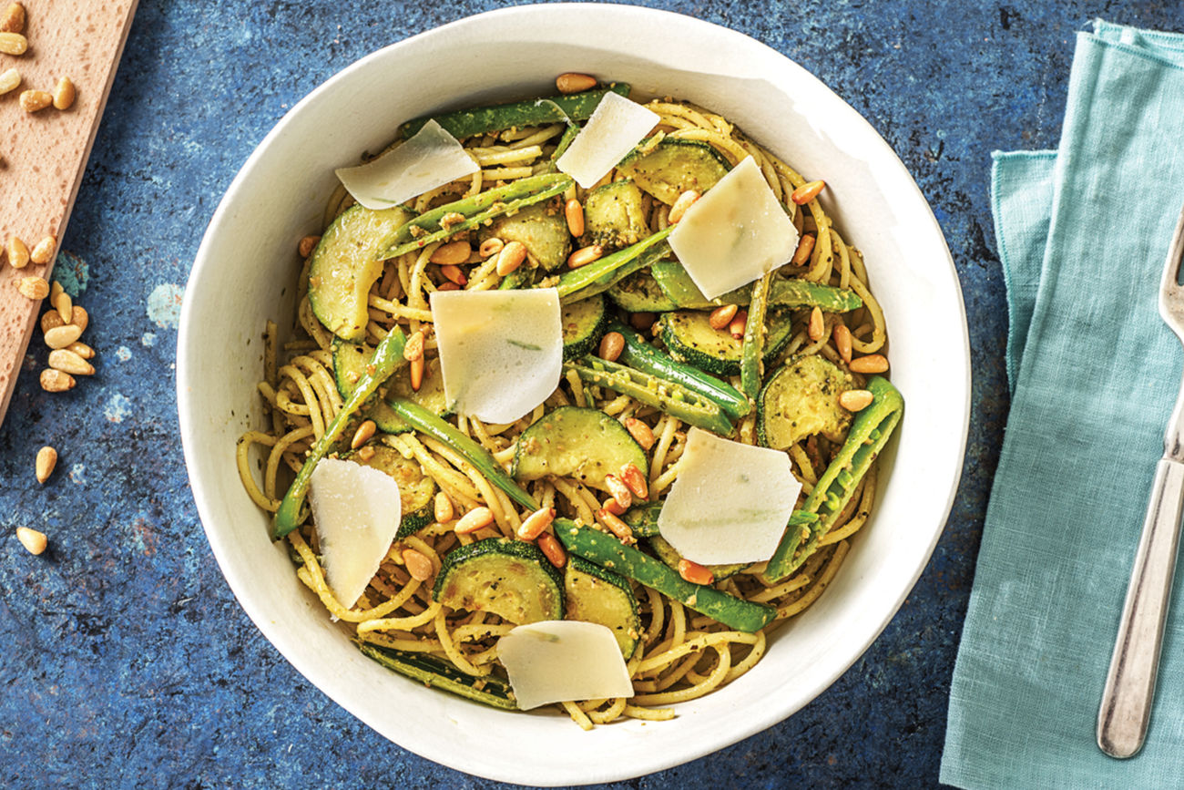 (Vegetarian) Speedy Lemon Pesto Spaghetti