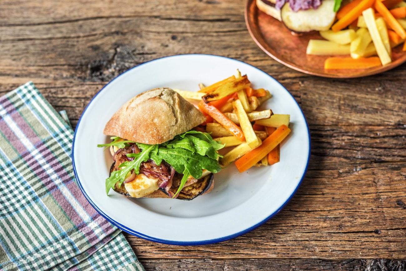 Halloumi-Auberginen-Burger