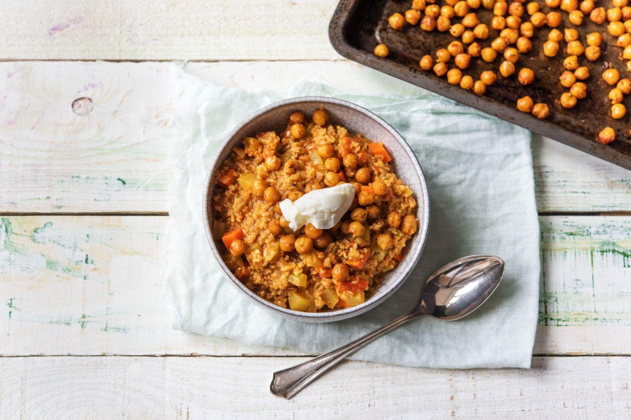 Tunisian Freekeh Stew-how to roast chickpeas-HelloFresh