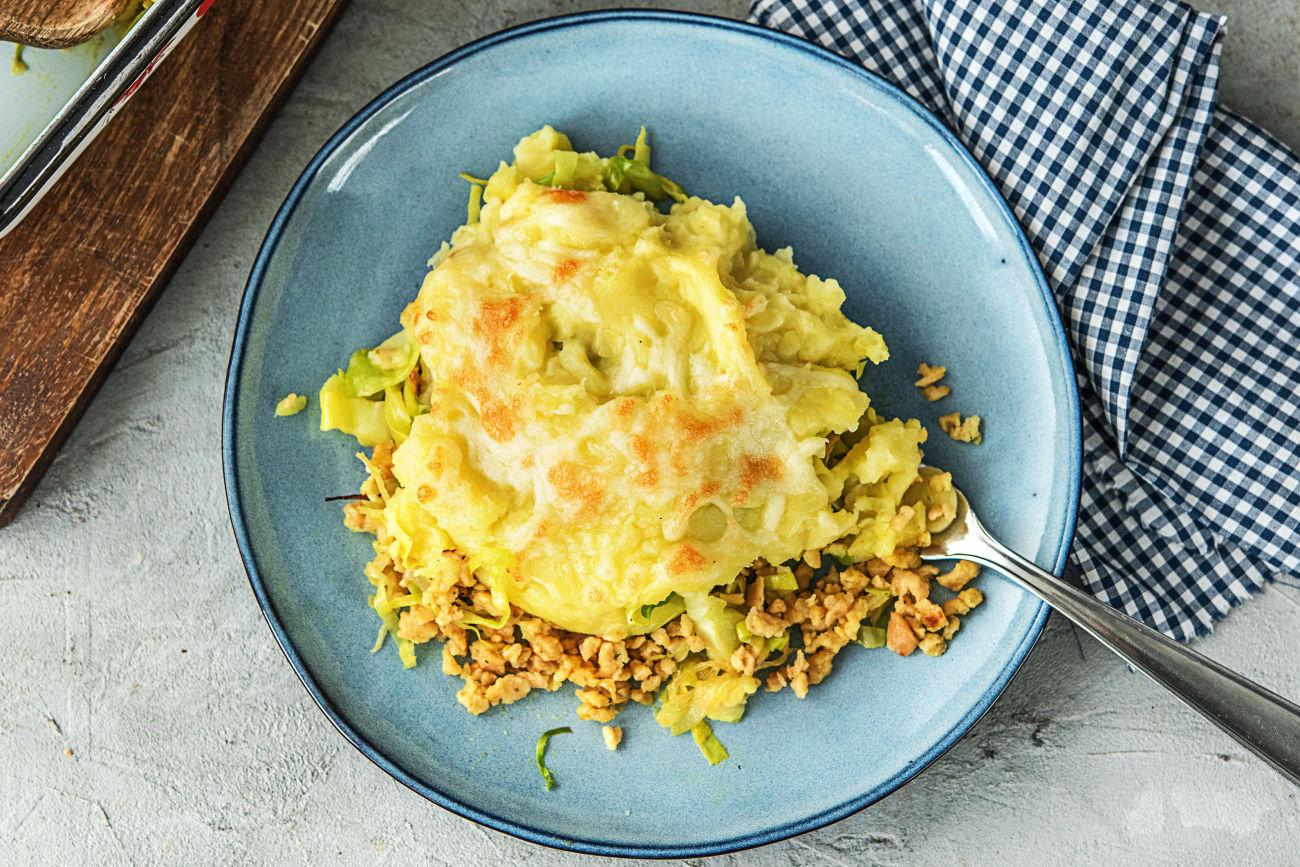 Vega-gehaktschotel met aardappelpuree