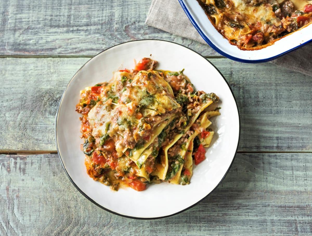 Romige lasagne met rundergehakt en spinazie