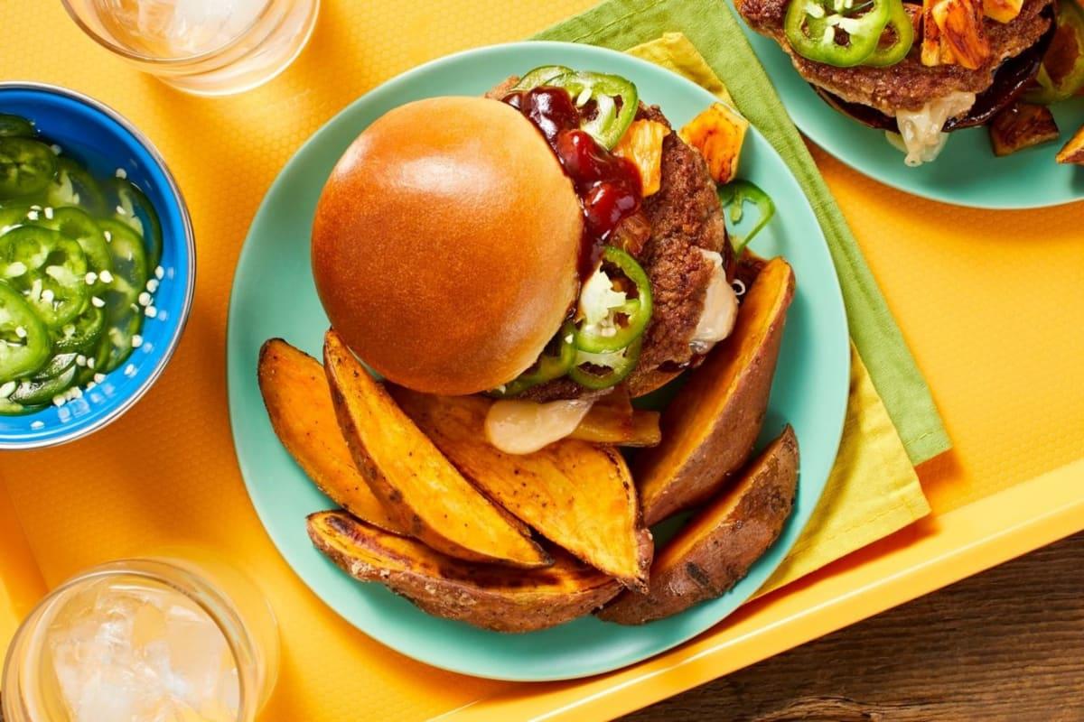Cheesy Stuffed BBQ Pork Burgers