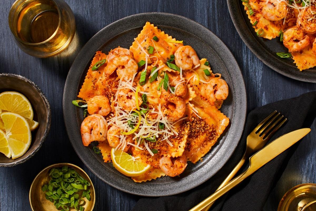 Lobster Ravioli and Shrimp