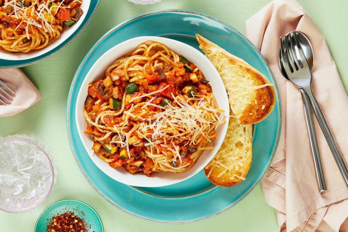 Cremini and Zucchini Spaghetti