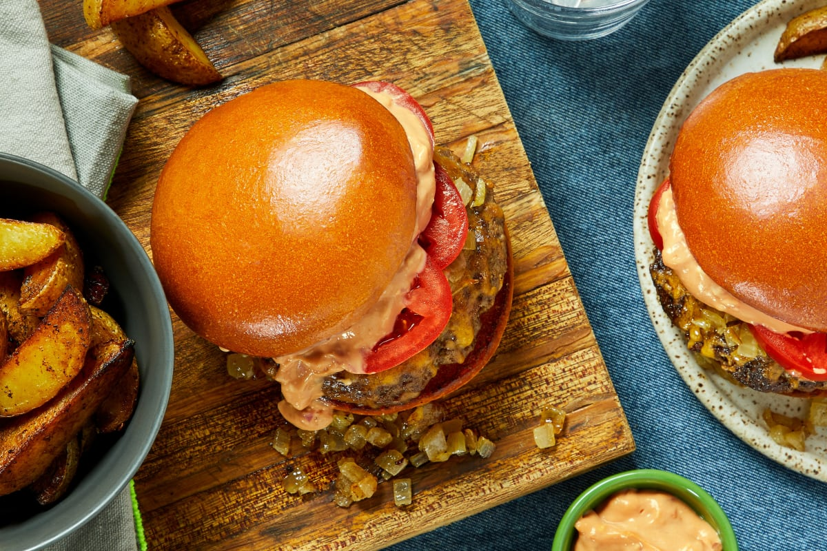 Griddled Onion Cheeseburgers
