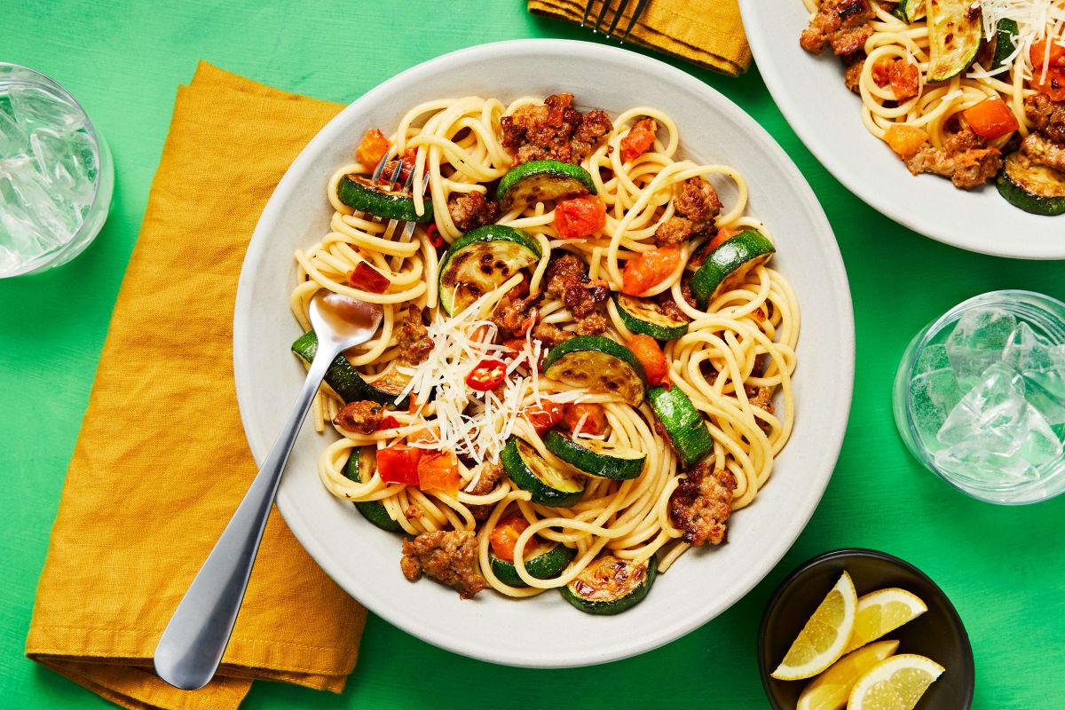 Pork Sausage Spaghetti alla Positano