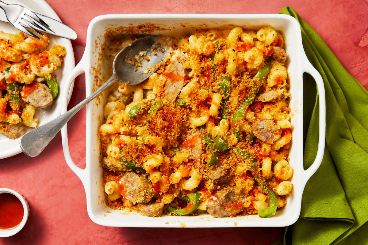 Pork Sausage Cavatappi Bake with Roasted Bell Pepper and Crispy Bread Crumbs