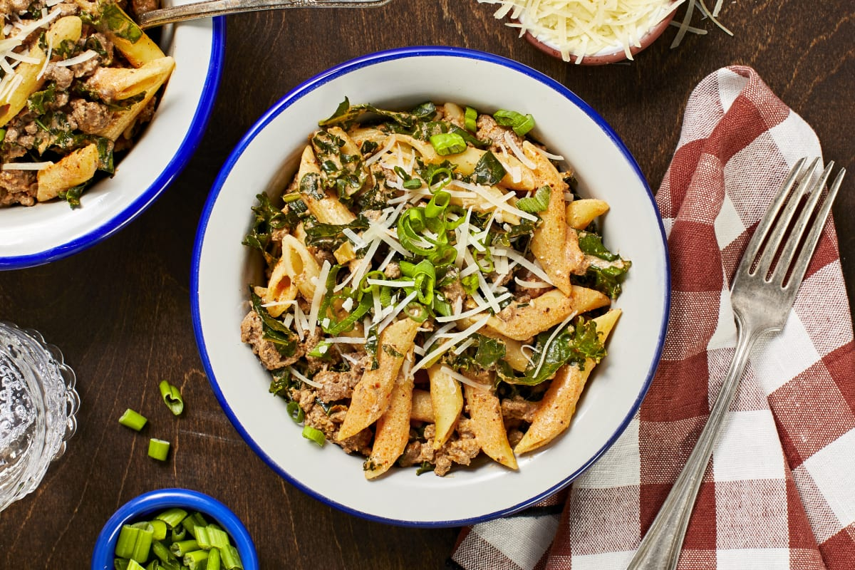 Creamy Tuscan Beef and Penne