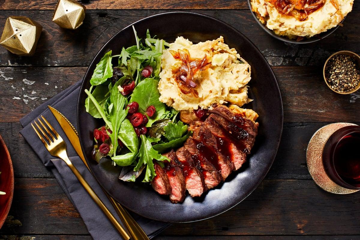 Seared Sirloin Steak and Shallot Demi-Glace
