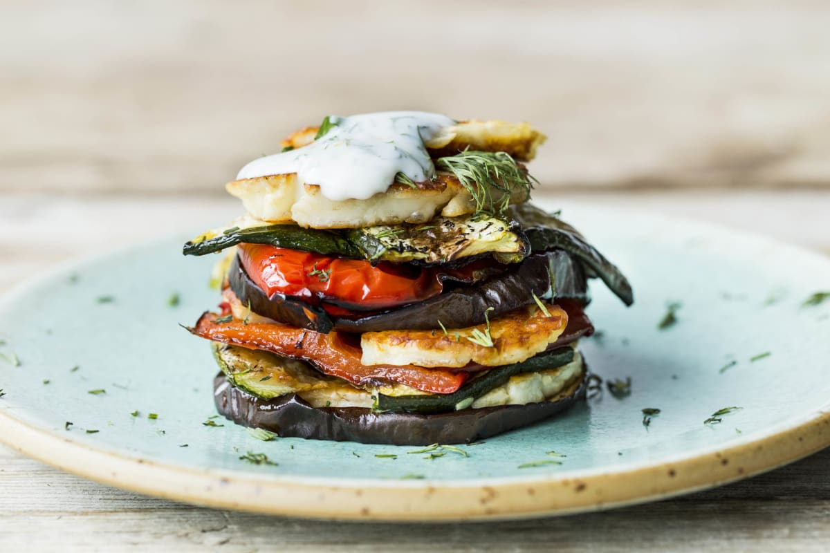 Chargrilled Vegetables & Haloumi Stack