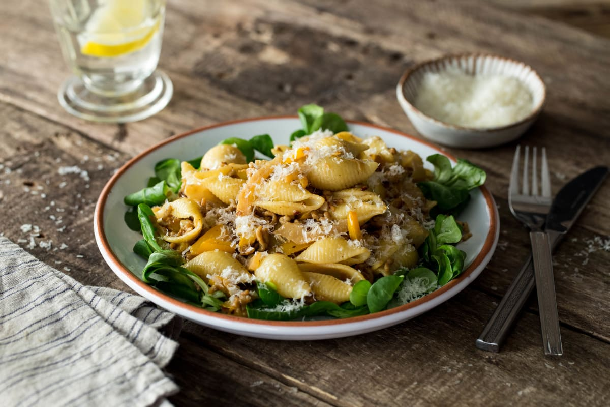 Conchiglie met kruidig kipgehakt en pecorino