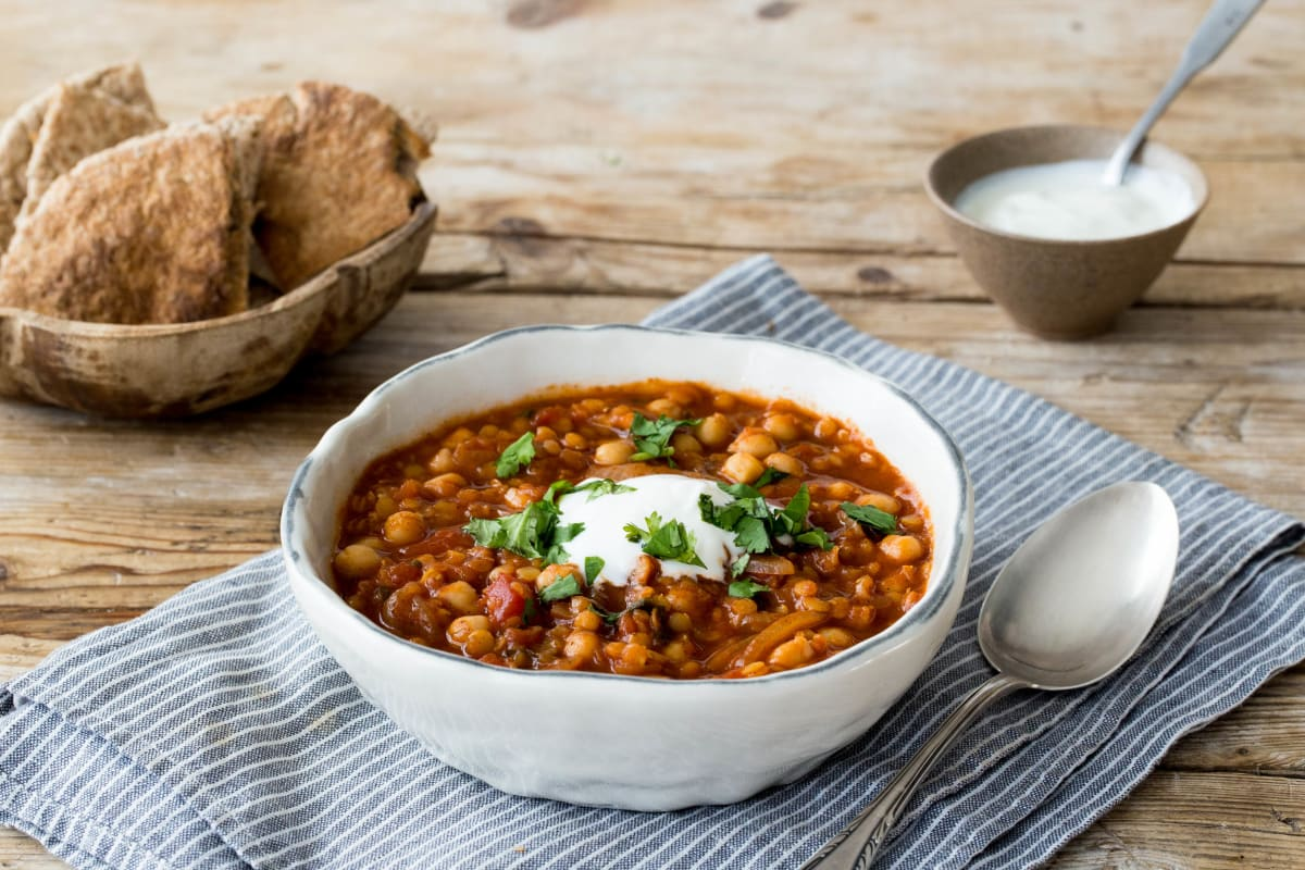 Spiced Moroccan Lentil and Chickpea Soup