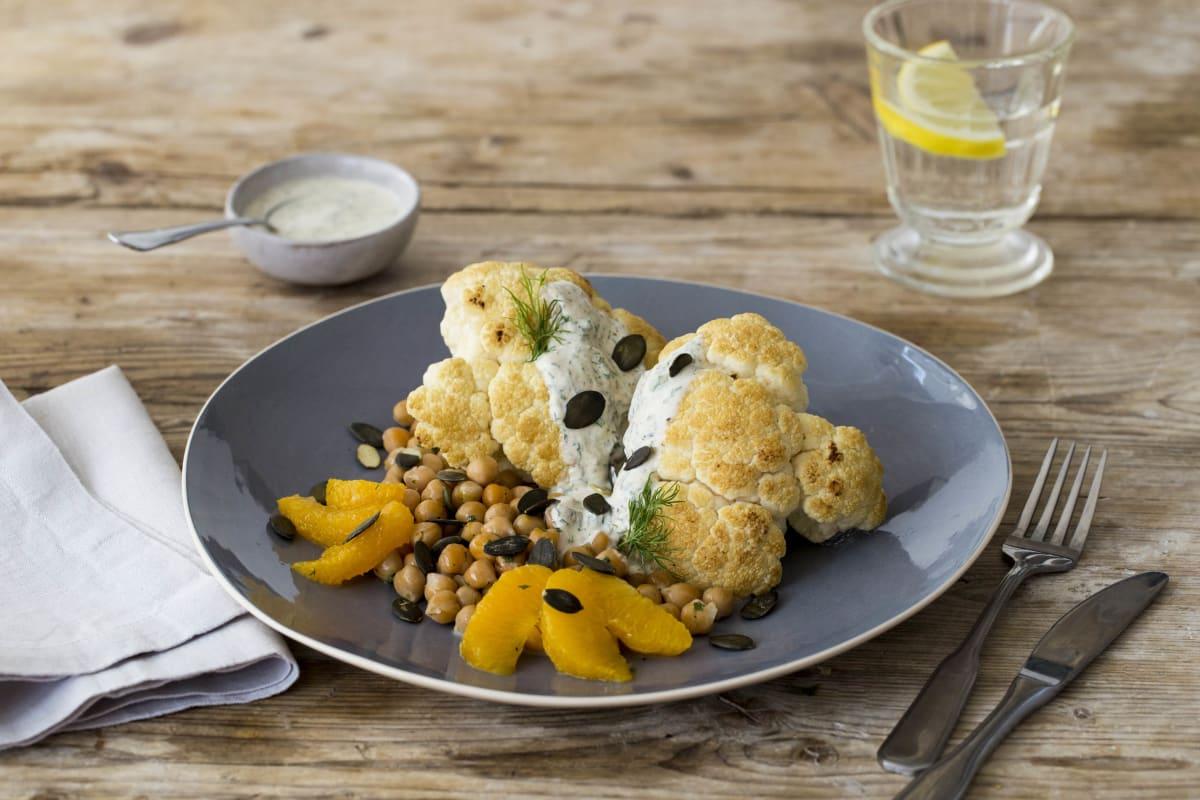 Mediterranean Whole-Roasted Cauliflower