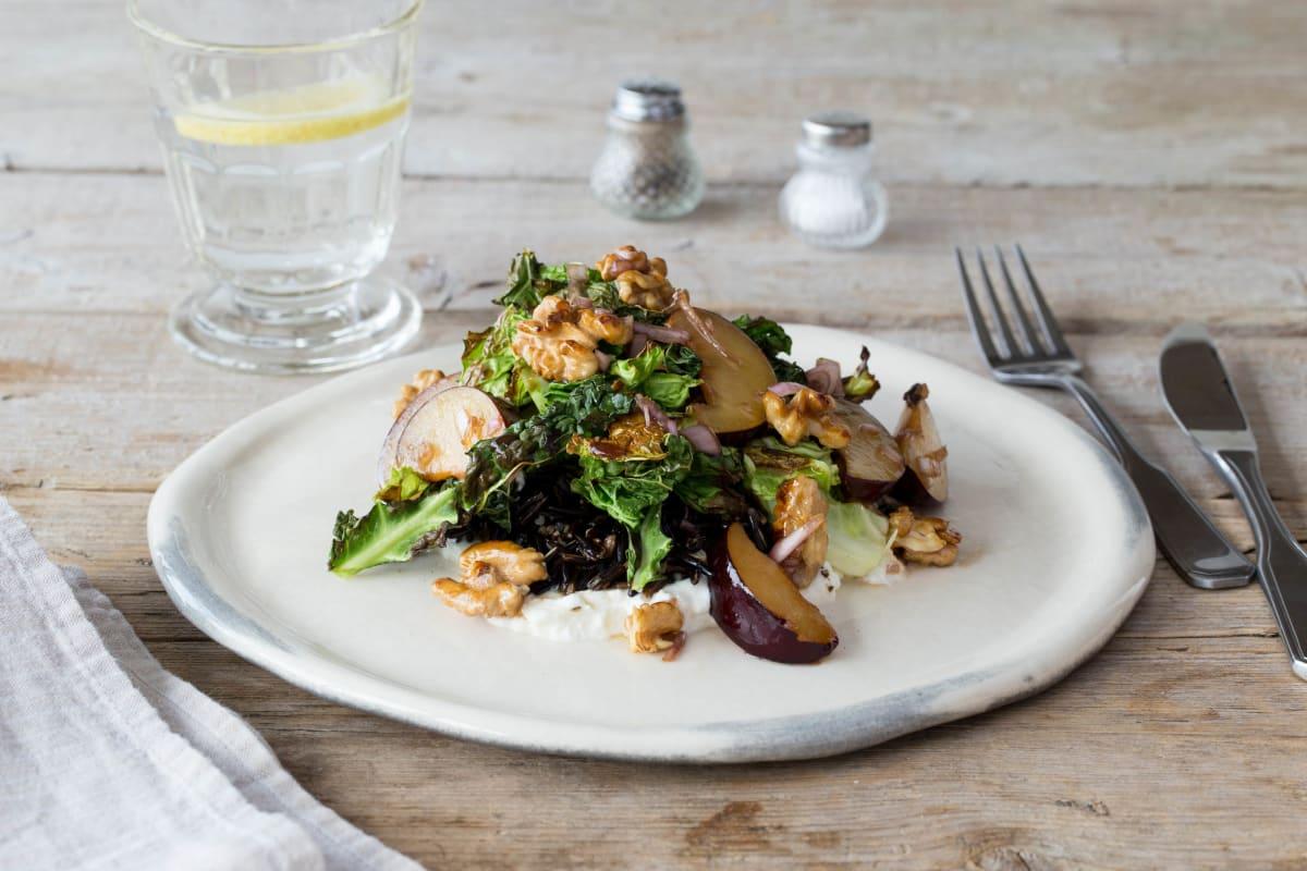 Charred Kale and Plum Salad