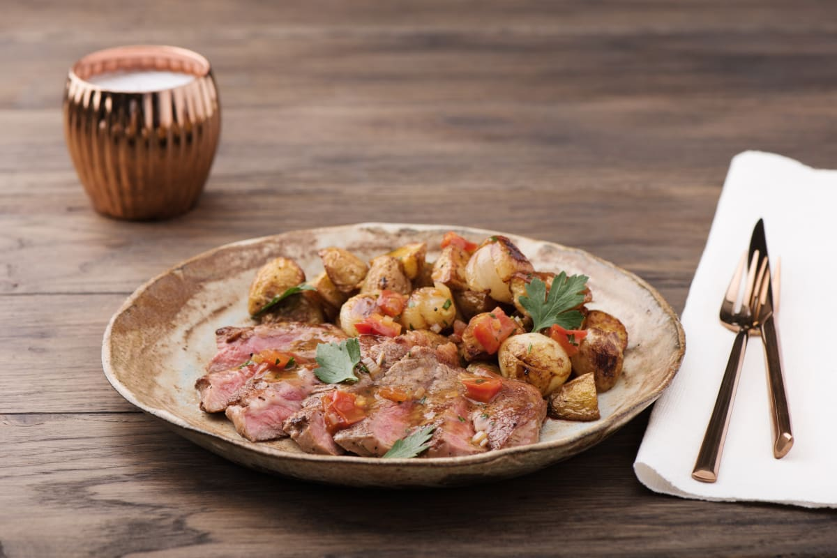 Pan-Seared Steak with Cipollini Onions, Roasted New Potatoes, and Tomato Pan-Sauce