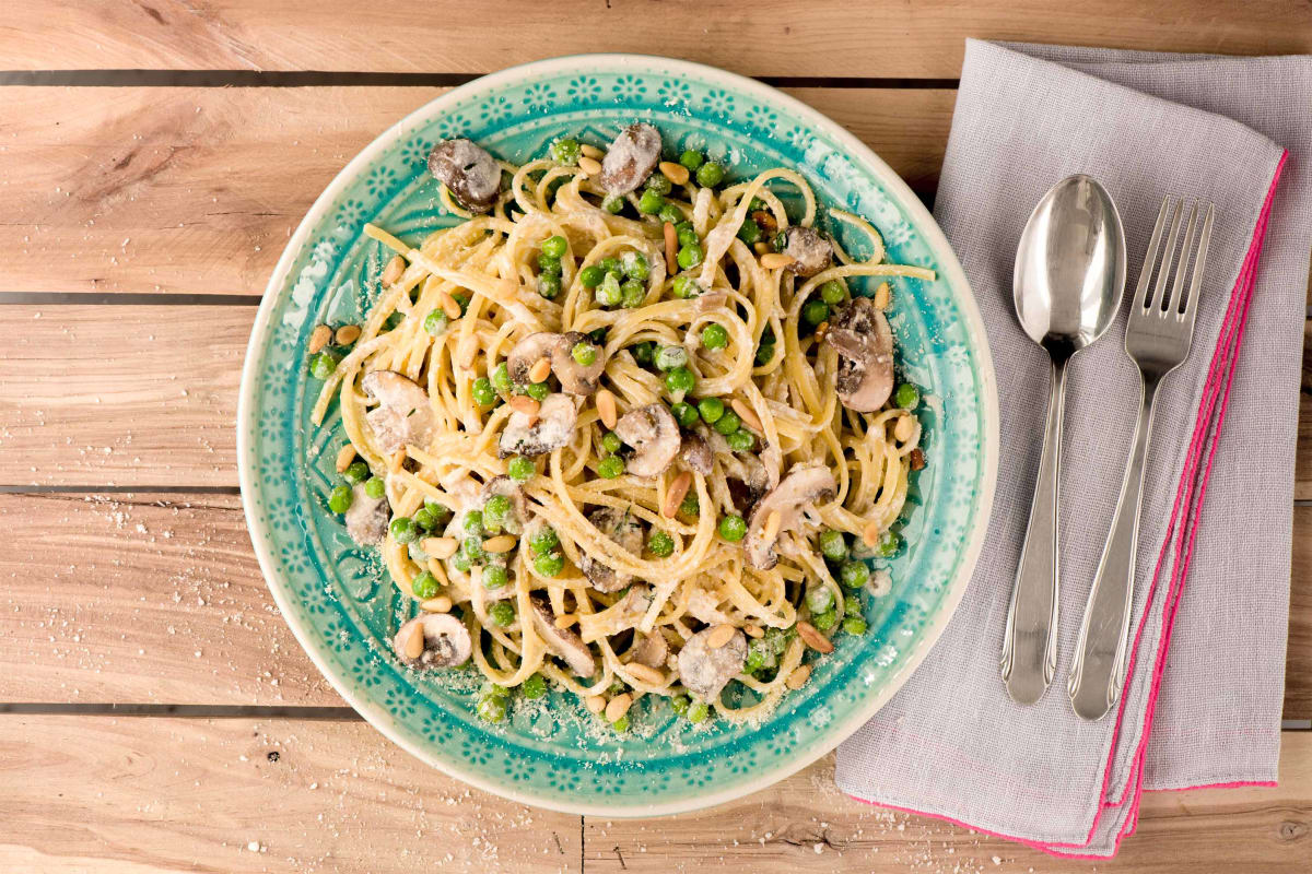 A Closely Guarded Mushroom, Thyme and Ricotta Linguine