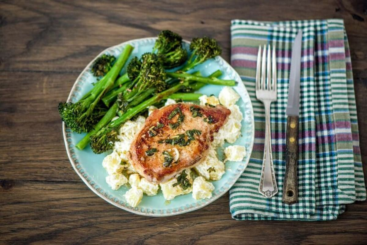 Sage-Butter Pork Chops with Roasted Broccolini and Citrusy Potato Salad