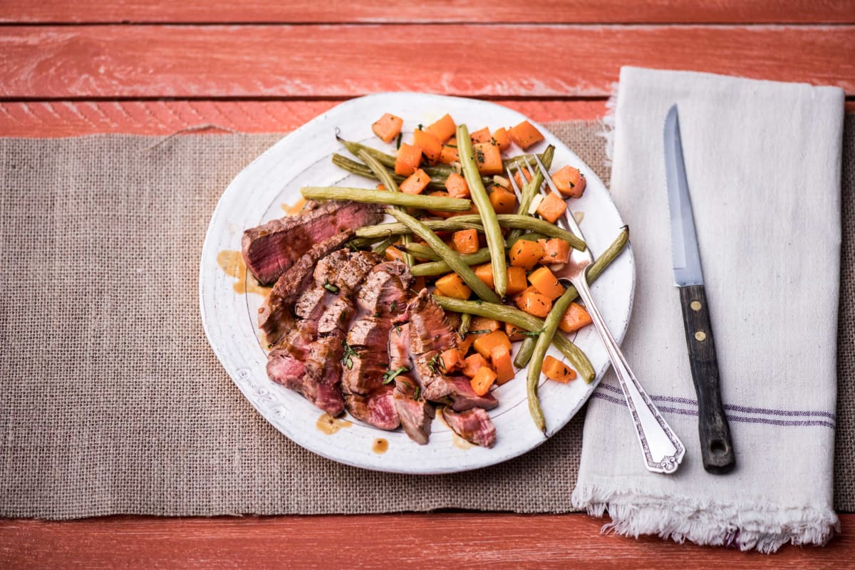 Pan-Seared Steak with Roasted Butternut Squash and Green Beans Almondine