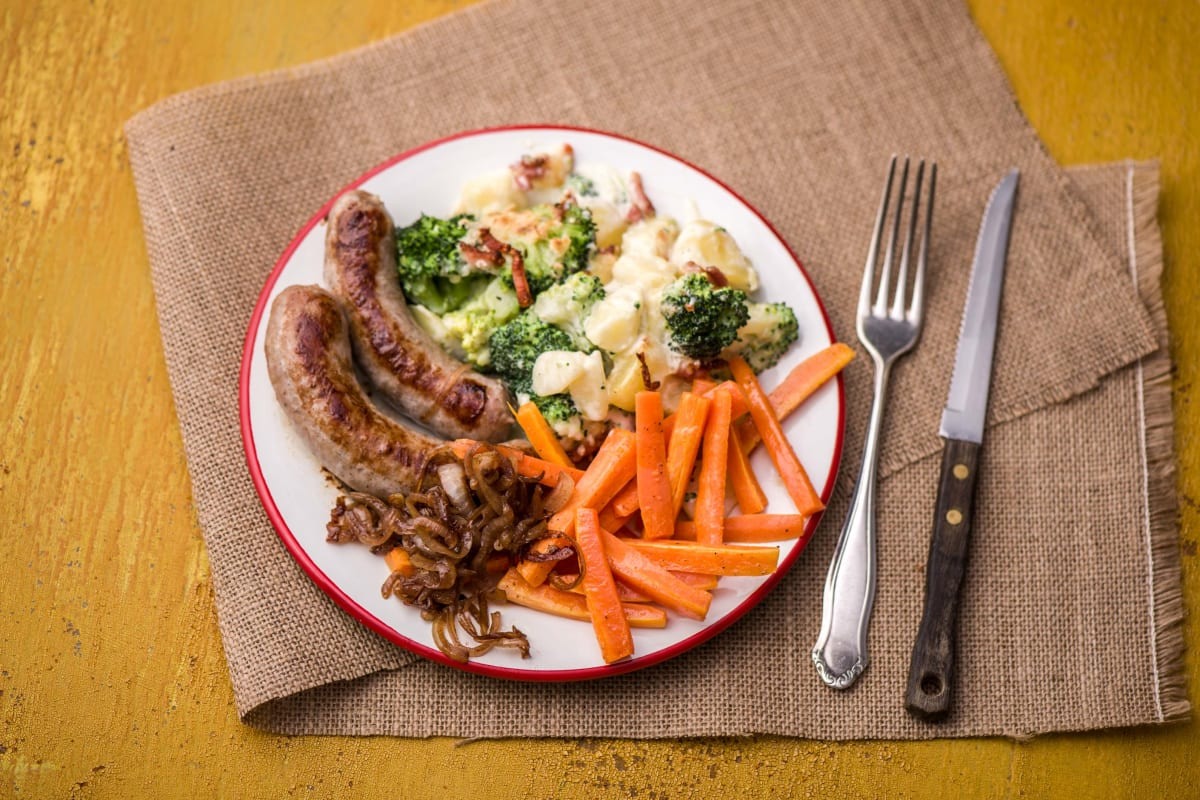 Sausages with a Broccoli and Potato Gratin