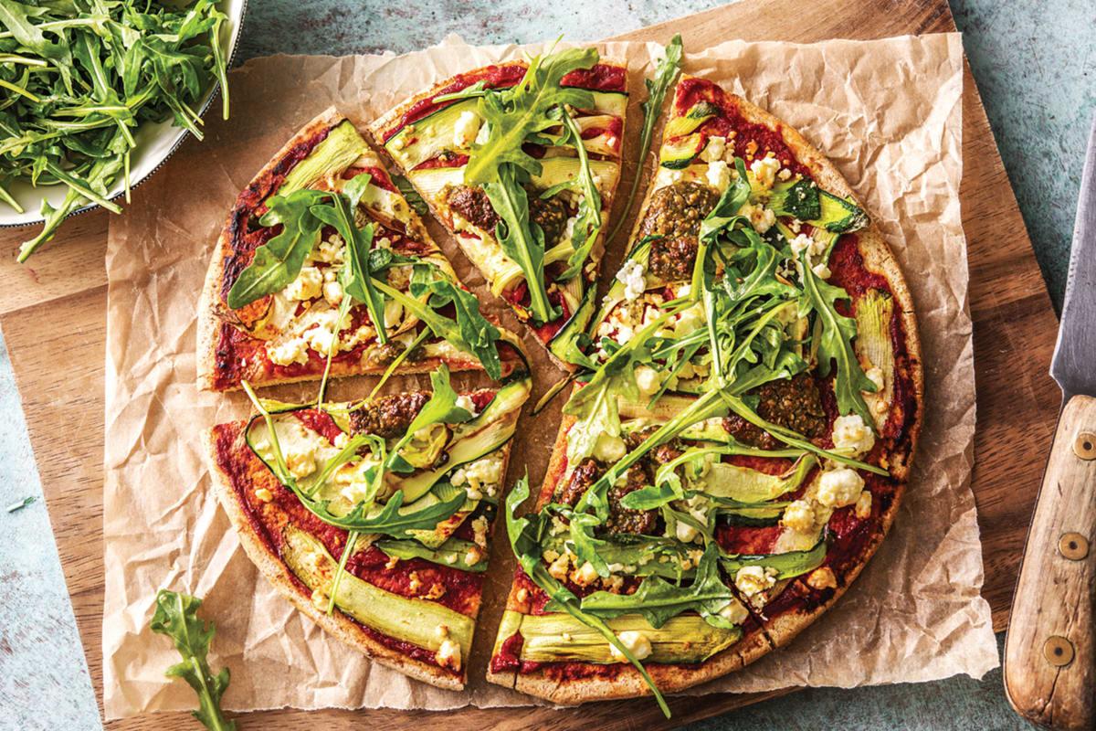 (Vegetarian) Speedy Basil Pesto Pizza
