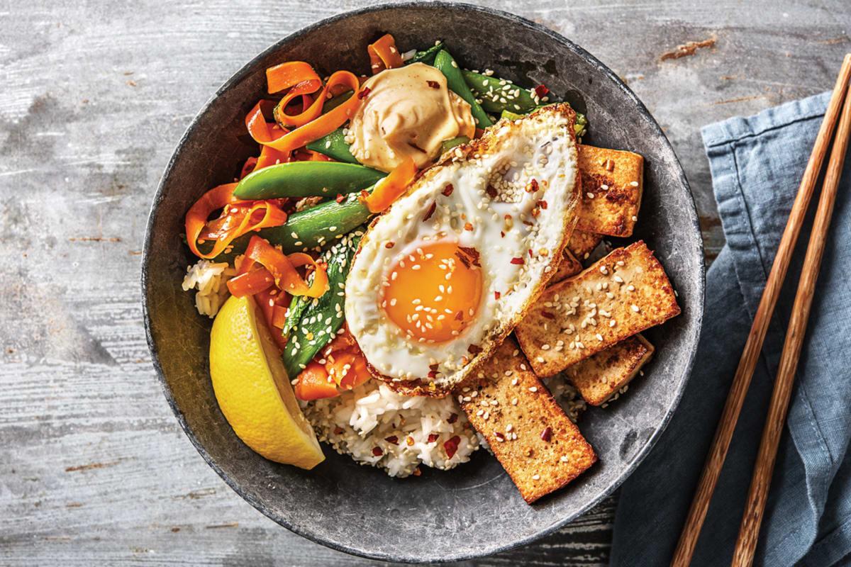 (Vegetarian) Korean Teriyaki Tofu Bibimbap