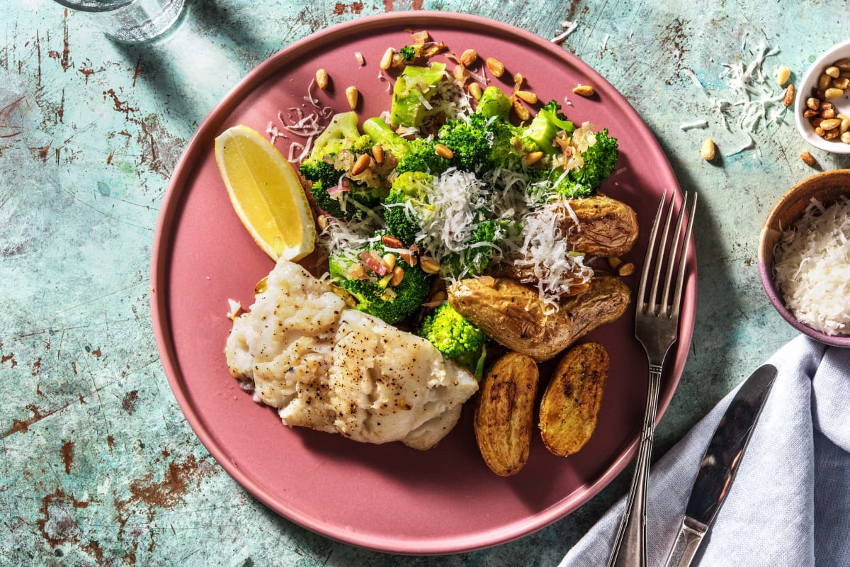 Rijke broccoli met gebakken kabeljauw