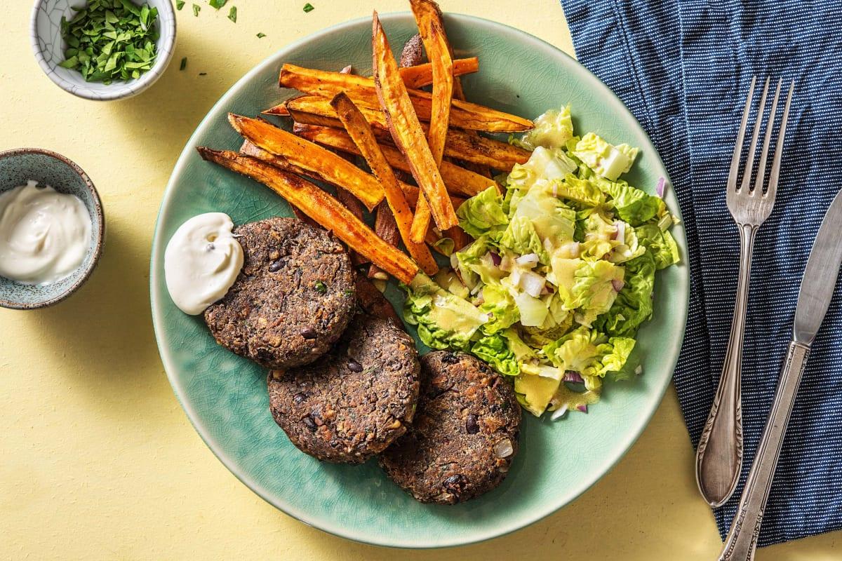 Steak maison à base de haricots noirs et de portobello