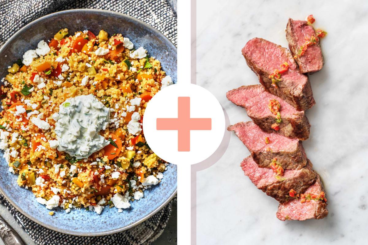 Couscous-Gemüse-Pfanne mit Steakstreifen