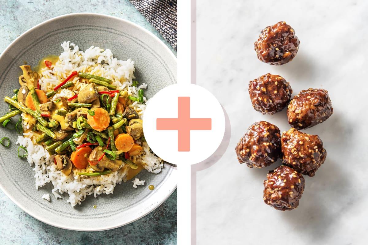 Buntes Kokos-Curry mit marinierten Fleischbällchen