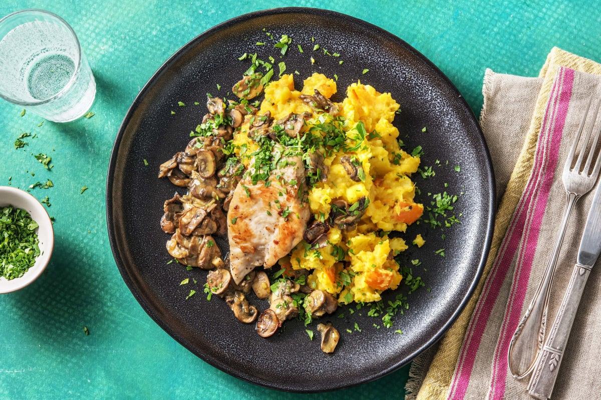Filet de poulet à la méditerranéenne et sauce aux champignons