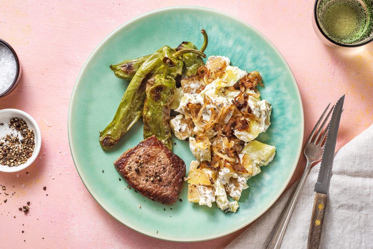 Kogelbiefstuk met aardappelsalade
