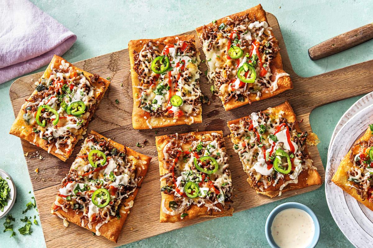 Beef Taco Pizzas