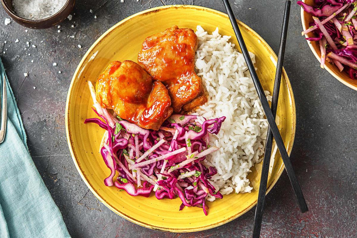 Chicken Thighs in Kimchi Sauce