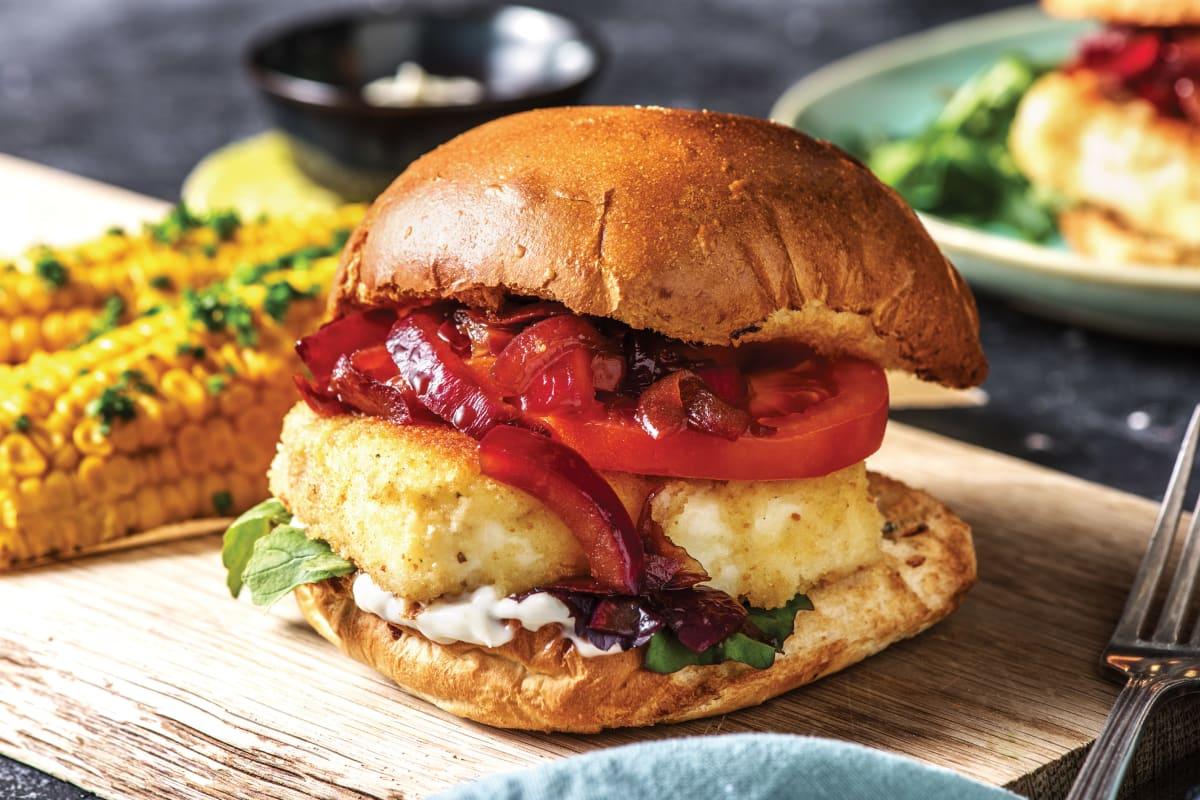 Crumbed Haloumi Burger & Corn Cobs